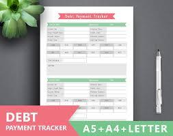 Debt Snowball Spreadsheet Debt Tracker Printable Debt Payment Letter A4