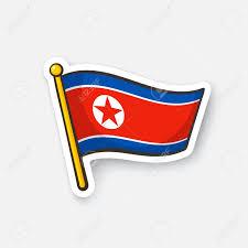 Korea Flag Icon Vector Illustration Flag Of North Korea On Flagstaff Checkpoint