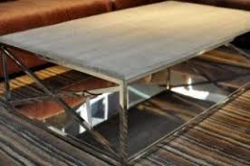wood and chrome coffee table foter