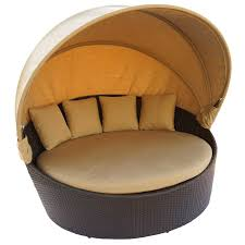 Outdoor Wicker Patio Furniture Round Canopy Bed Daybed - outdoor beds with canopy home decor