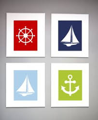 Sailboat Decor For Nursery Nautical Nursery Sailboat Wall Print Navy By Rizzleandrugee