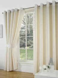 Lined Curtains Cream Faux Silk Lined Curtains With Eyelet Ring Top 66 X 90 By