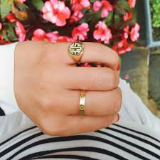 monogram signet ring summer wind gorgeous gold classic monogrammed signet ring
