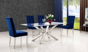 732 juno dining room set in rich chrome u0026 navy by meridian
