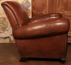 Leather Club Armchair French Art Deco Period Leather Club Chair At 1stdibs