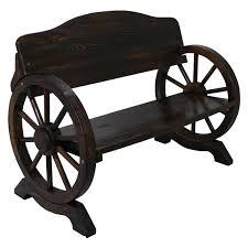 garden wooden bench 2 3 seat burnt wood solid cart wagon wheel