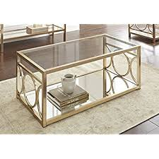 Coffee Tabls Coaster Glass Top Coffee Table In Brushed Brass