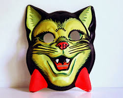 1970 Halloween Costumes Vintage Halloween Mask 1950s Cat Children U0027s Fluorescent Costume