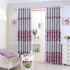 Silver Purple Curtains Leaf Pattern Curtains In Pink And Silver Of Jacquard Style