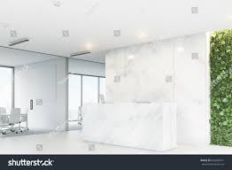 White Reception Desk Corner White Reception Desk Two Laptops Stock Illustration
