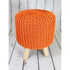 carraig donn best selling rococco orange knitted pouffe as