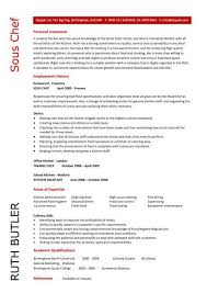 Resume Sample For Cook by Sous Chef Cv Sample