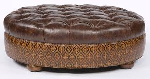 Round Ottoman Large Round Tufted Leather Ottoman American Furniture