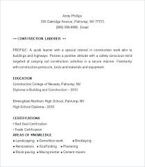 Resume Template For Construction Construction Superintendent Resume Sample Construction Resume