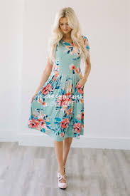 mint tropical floral pocket dress best place to buy modest dress