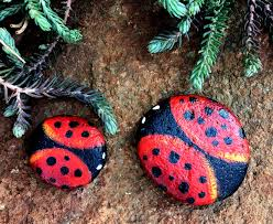 painted ladybug rock magnets home decor painted rocks