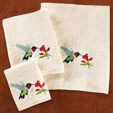 Hummingbird Bathroom Accessories by Hummingbird Embroidered Bath Linens The Paragon Catalog