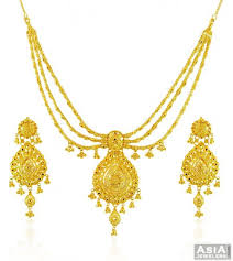 beautiful gold necklace set images 22k gold layered necklace set ajns58447 beautiful 22k gold jpg