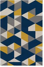 Yellow Rugs Joan Joan 6087 Navy Blue And Yellow And Gray Contemporary Rug