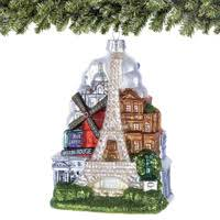 paris skyline and eiffel tower christmas ornament