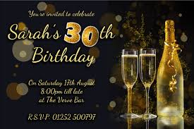 personalised black u0026 gold glitter birthday party invitations n207