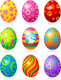 nine fine painted eggs designed for easter royalty free cliparts