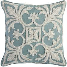 coastal embroidered pillow everything turquoise