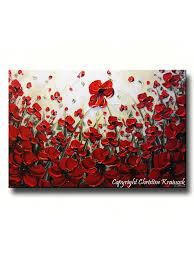 poppy home decor art abstract red poppy flowers painting original modern art