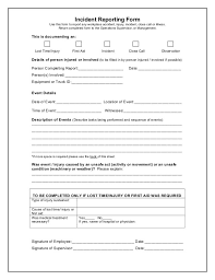report form template incident report form free