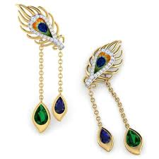 peacock earrings peacock dual drop earrings jewellery india online caratlane