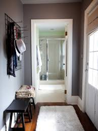 small apartment entryway ideas with nice bench and coat rack small