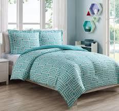 Twin White Comforter Set Microfiber Kids Maze Aqua White Reversible Comforter Set
