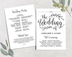 cheap wedding programs wedding program template folded wedding program printable