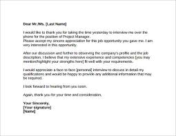 collection of solutions interview thank you letter project manager