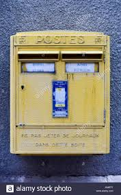 stock bureau maroc yellow post box in bourges labeled posts it asks