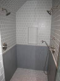 grey penny round tile accent bathroom floor wood floors