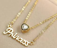 crystal chain necklace images Multilayers gold color princess heart letters crystal chain jpg