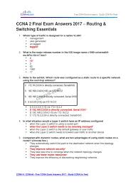 ccna 2 final exam answers 2017 u2013 routing u0026 switching essentials