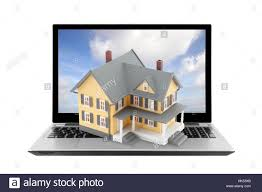 blue house building laptop notebook computers computer stock