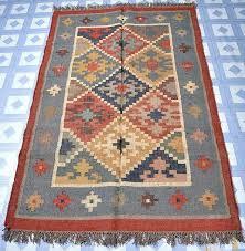 Wool Indian Rugs Checked Indian Wool Jute Rugs Decorative Carpet Handmade Rug Rag