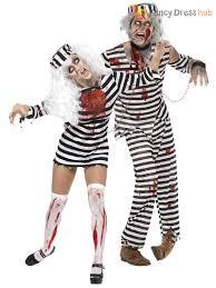 mens ladies zombie convict couples costume duo halloween fancy