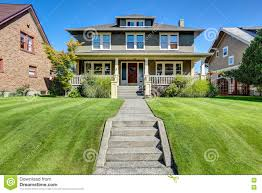 nice curb appeal of american craftsman style house stock photo