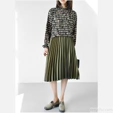 pleated skirts olive satin pleated skirt new 2017 knee length skirts bottoms
