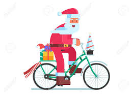 santa claus bicycle with gifts bike