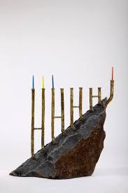 unique menorah basalt bronze works by chanoch ben dov