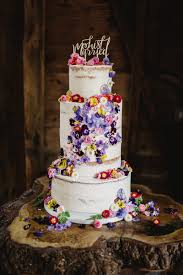 Wedding Cake Flowers Semi Cake With Cascading Fresh Edible Flowers From Maddocks