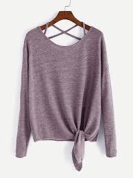 criss cross blouse pink drop shoulder criss cross tie front t shirt emmacloth