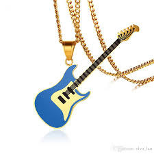 guitar necklace pendants images Wholesale blue guitar pendant for women men necklace stainless jpg
