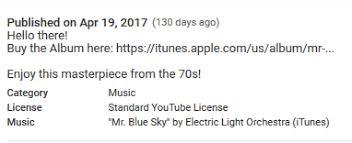 youtube music electric light orchestra how to add a new category music inside the youtube description