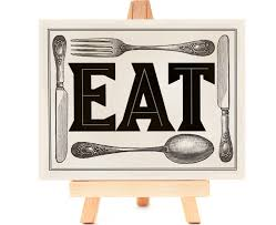kitchen art print eat fork spoon knife create with word art and